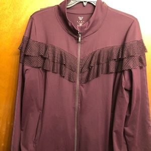 Plum colored, lightweight jacket with Ruffle.